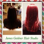 brilliant red hair color from James Geidners salon Vero Beach